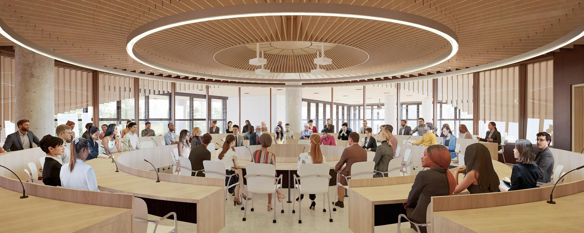 The Viewpoint Circle for Dialogue at the heart of the new Mathison Hall.