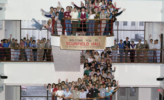 The opening of Scurfield Hall, April 1986.