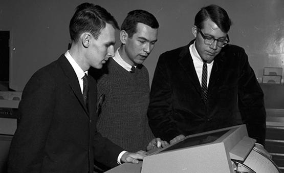 Students in the Faculty of Business playing a computer game, February 1967.